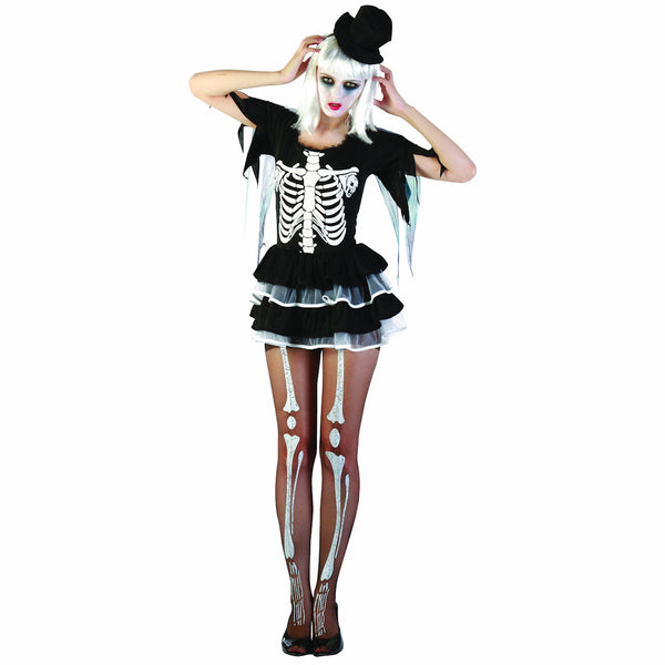 Sassy Skeleton Sexy Women's Day of the Dead Halloween Fancy Dress Costume