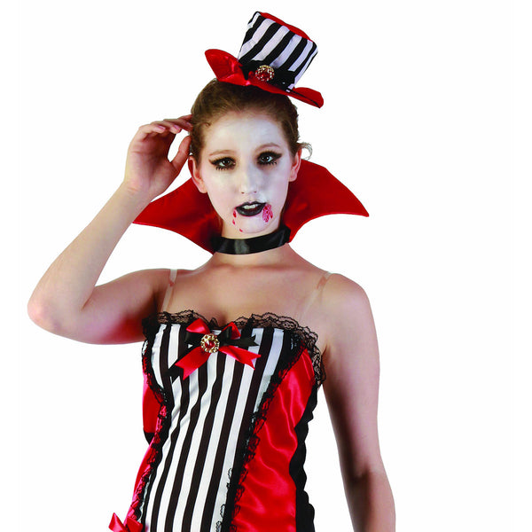 Madam Vampiress Sexy Women's Halloween Fancy Dress Costume with Choker Collar