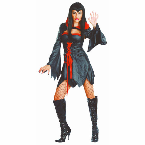 Gothic Sexy Vampire Women's Halloween Fancy Dress Costume