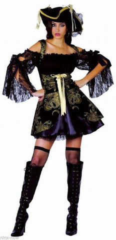 Black & Gold Treasure Pirate Women's fancy dress costume