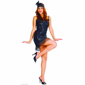 1920's Gatsby Flapper Dress Black Sequin & Low Plunging Back Fancy dress costume