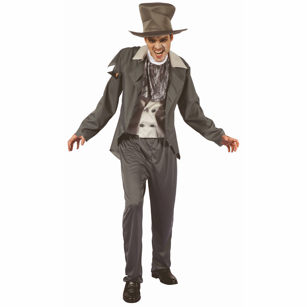 Walking Dead Zombie Gentleman Fancy Dress Costume with Top Hat