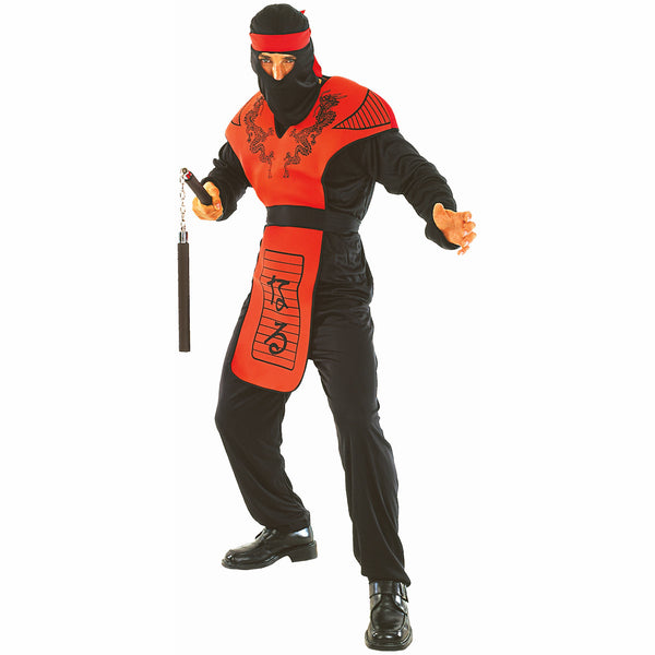 Red Dragon Ninja Warrior Assasin Men's Fancy Dress Costume