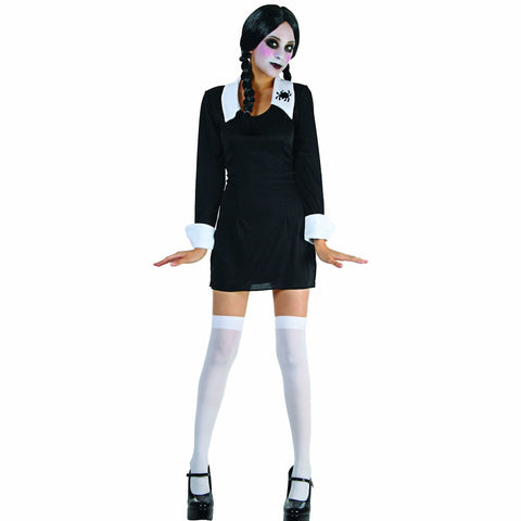 Wednesday Addams Creepy School Girl Women's Halloween Costume