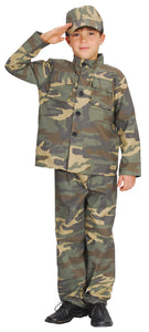 Army Soldier Camo Boys or Girls Costume complete with Top, Pants, Hat