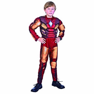 Ironman Padded Muscle Jumpsuit  Boys Costume Fancy Dress