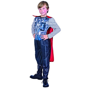 Thor Padded Muscle Jumpsuit  Boys Child Costume Fancy Dress with Cape