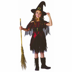 Sparkly Witch Girl's Fancy Dress Costume with Cape and Hat