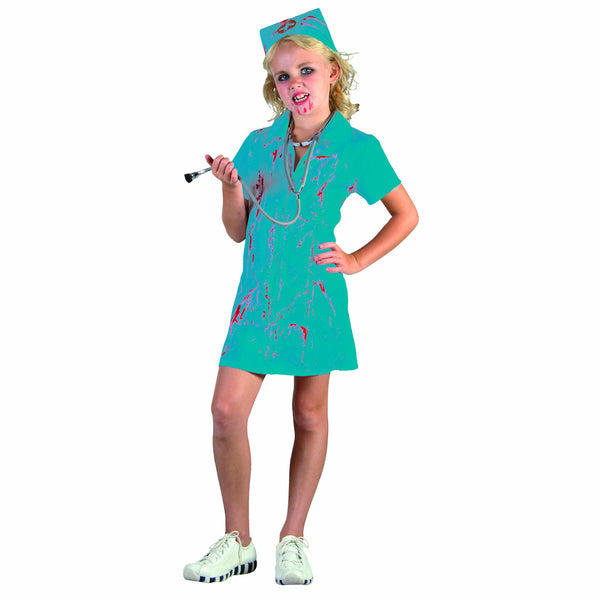 Zombie Bloody Mad Nurse Surgeon Doctor Girl's Fancy Dress Halloween Costume