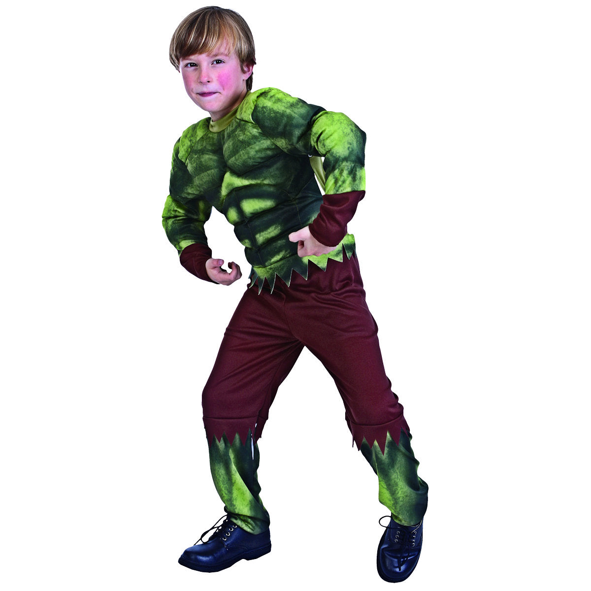 The Hulk Padded Muscle Jumpsuit  Boys Child Costume Fancy Dress