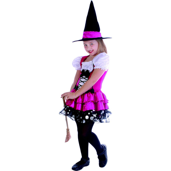 Sassy Pink Witch Girl's Halloween Fancy Dress Costume with hat so pretty!