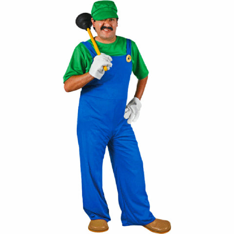 Luigi Super Mario Brothers Adult Men's Complete Costume with Moustache