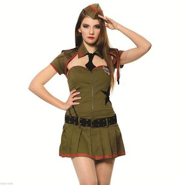 Sexy Army Private Pin up Girl Military Uniform Women's Costume 4 piece Set