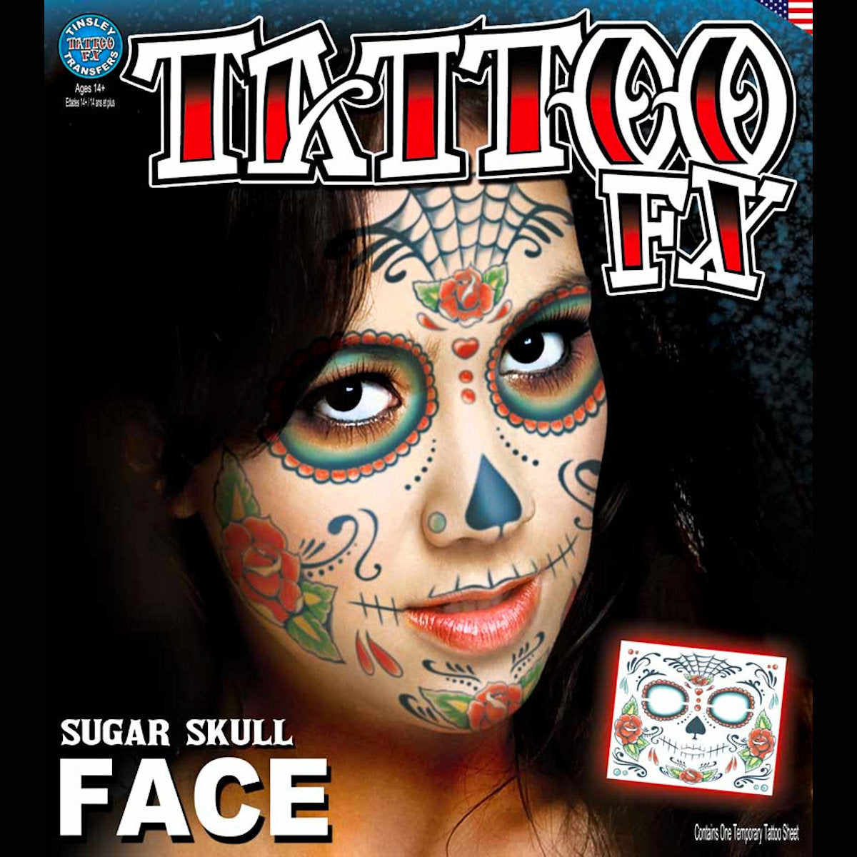 DOD Sugar Skull Full Face Temporary Tattoo Tinsley Halloween Special FX Make up