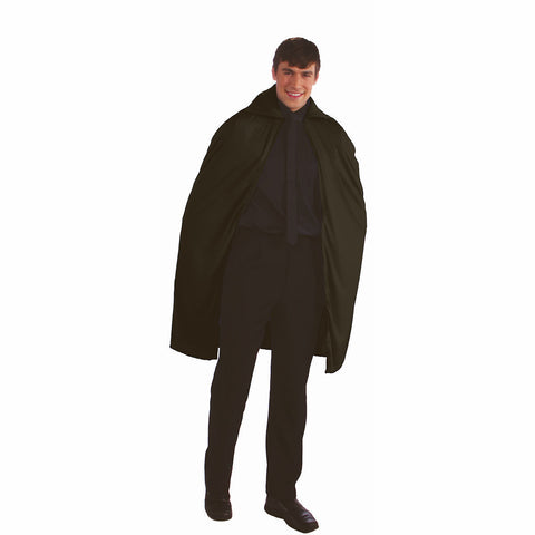 "Black Cape Vampire 45"" Long - Adult Fancy Dress Costume One size up to 42"" chest"
