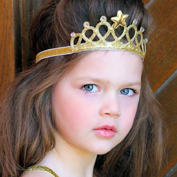 Crown Headband Princess Tiara Child Party Hair Accessory Silver Gold Pink Blue