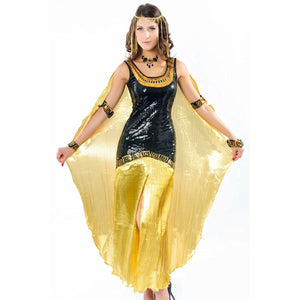 Golden Cleopatra Goddess Deluxe Sequin Women's Costume with Headpiece