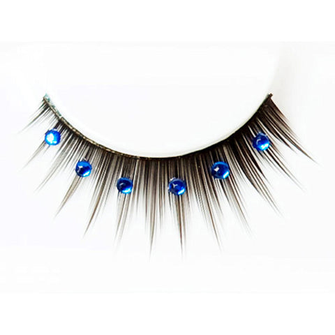 Black Deluxe False Eyelashes with Blue Diamantes
