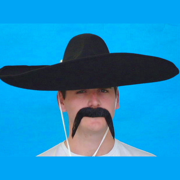 Mexican Droopy Moustache Black Human Hair Quality Natural Looking