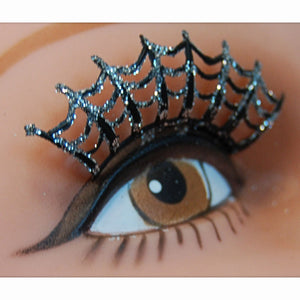 False Eyelashes Spider Web Black with Silver Glitter + Adhesive Halloween