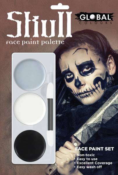 Skull Halloween Tri-Colour Makeup Palette Special FX Fancy Dress face make-up