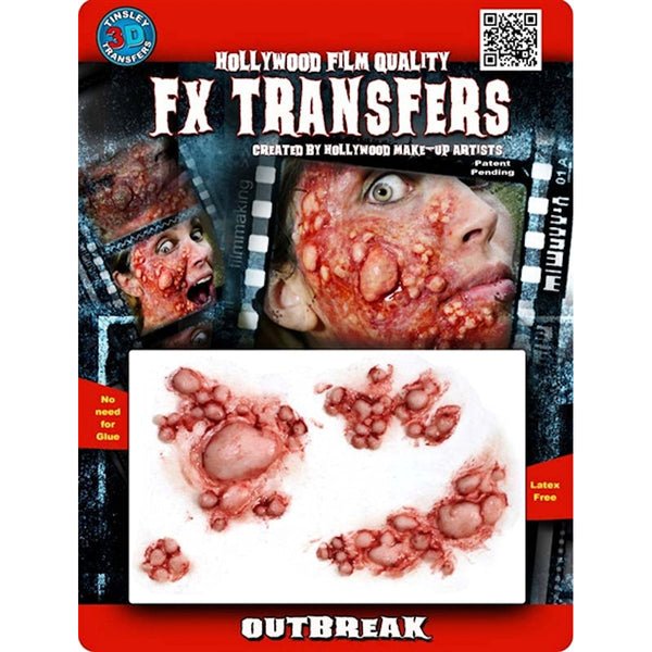 Outbreak 3D FX Transfer Tinsley Temporary Tattoo Halloween Special FX Make Up