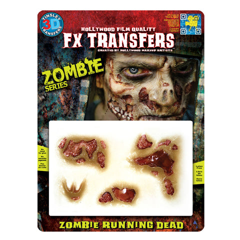 Zombie Flesh 3D FX Transfer Tinsley Temporary Tattoo Halloween FX MakeUp