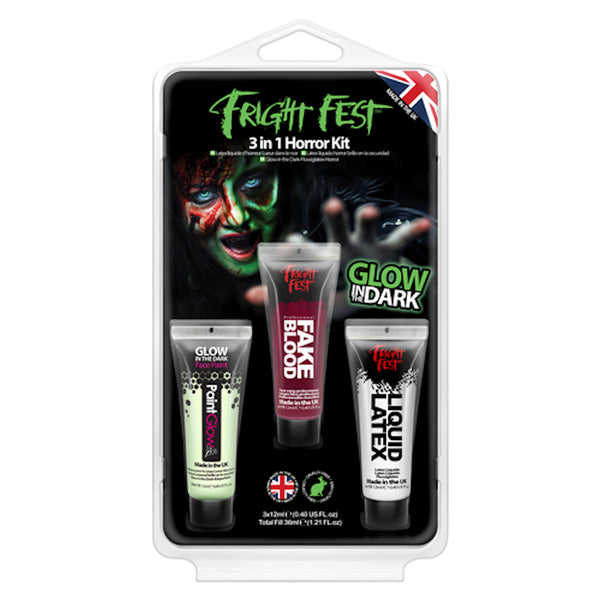 Fright Fest Glow In The Dark Liquid Latex Face Paint Set of 3 Halloween Make Up Paint Glow