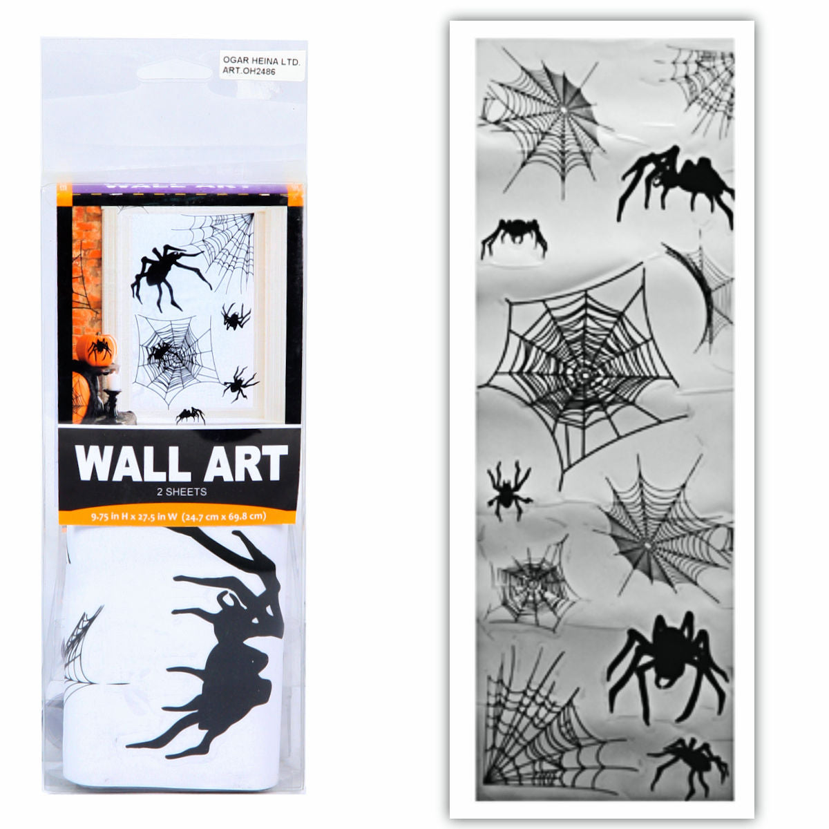 Spiders Wall Decals Halloween Decorations 2 sheets 24.7 x 69.8 cm