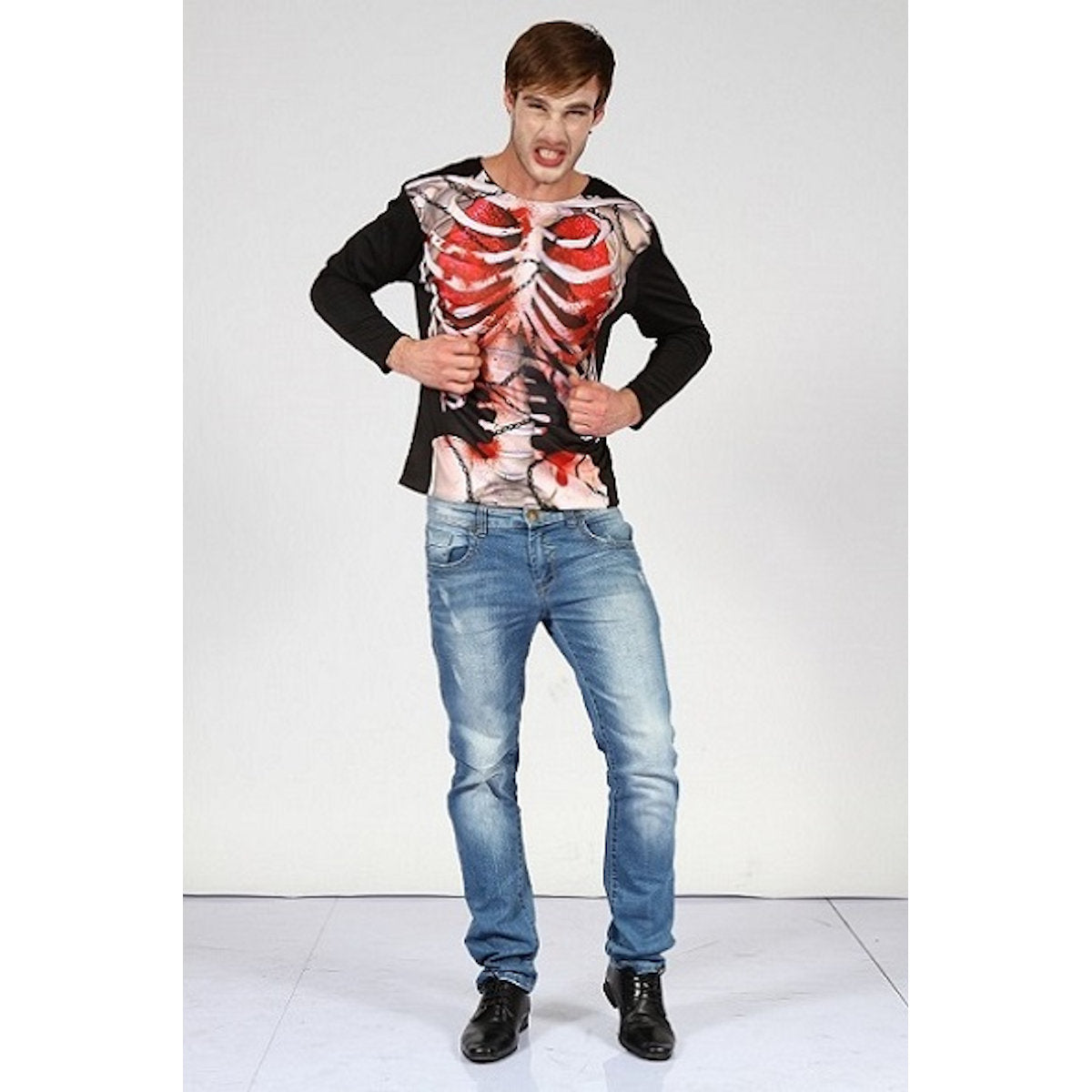 Zombie Skeleton Ripped Apart Printed Shirt
