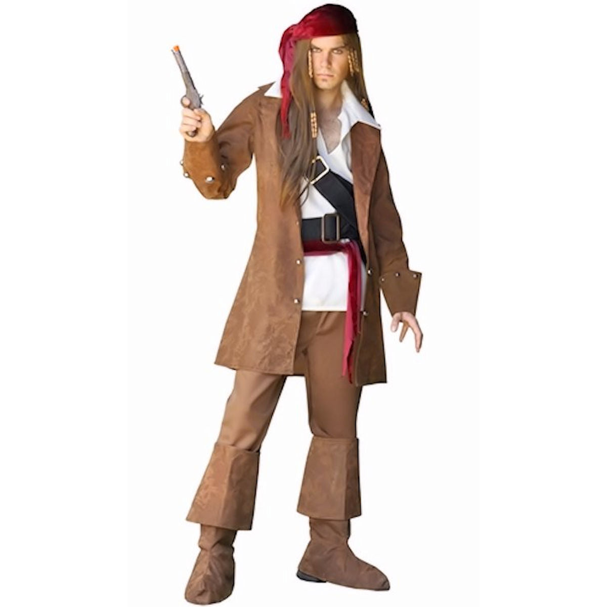 Deluxe Pirate Jack of the Caribbean Pirate Men Fancy Dress Costume 8 Piece set
