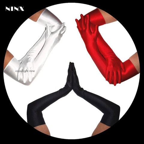 High Quality Stretch Satin Long Opera GLOVES Black Red or White Costume & Formal