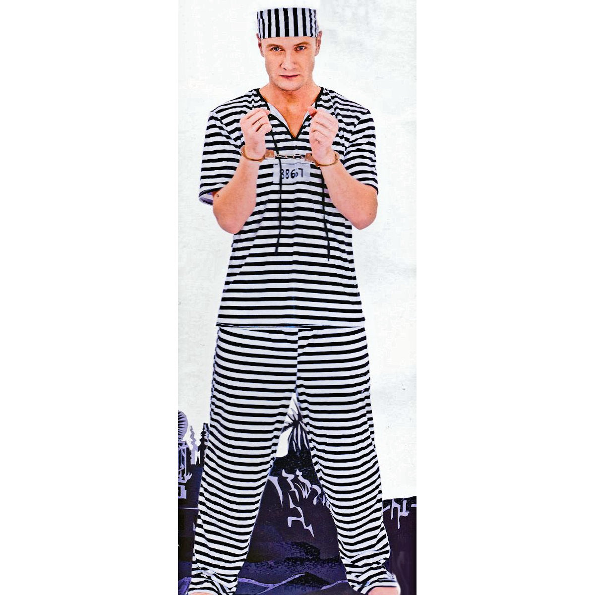 Robbers Convict Prisoner Jailbird Men's Fancy Dress Costume with Toy Handcuffs