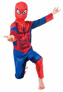 Spiderman Airbrushed Muscles Jumpsuit  BOYS Fancy Dress Costume Genuine Licensed