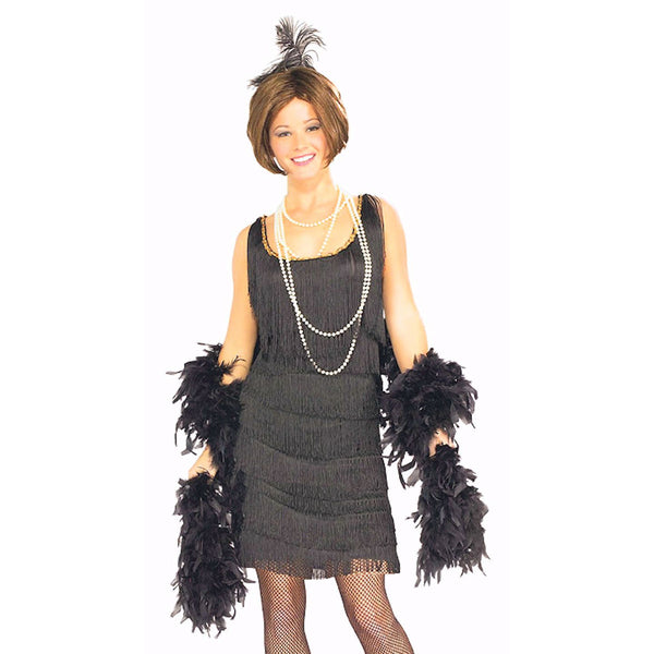1920's Gatsby Black Flapper Dress + Headpiece Chicago Womens fancy dress costume