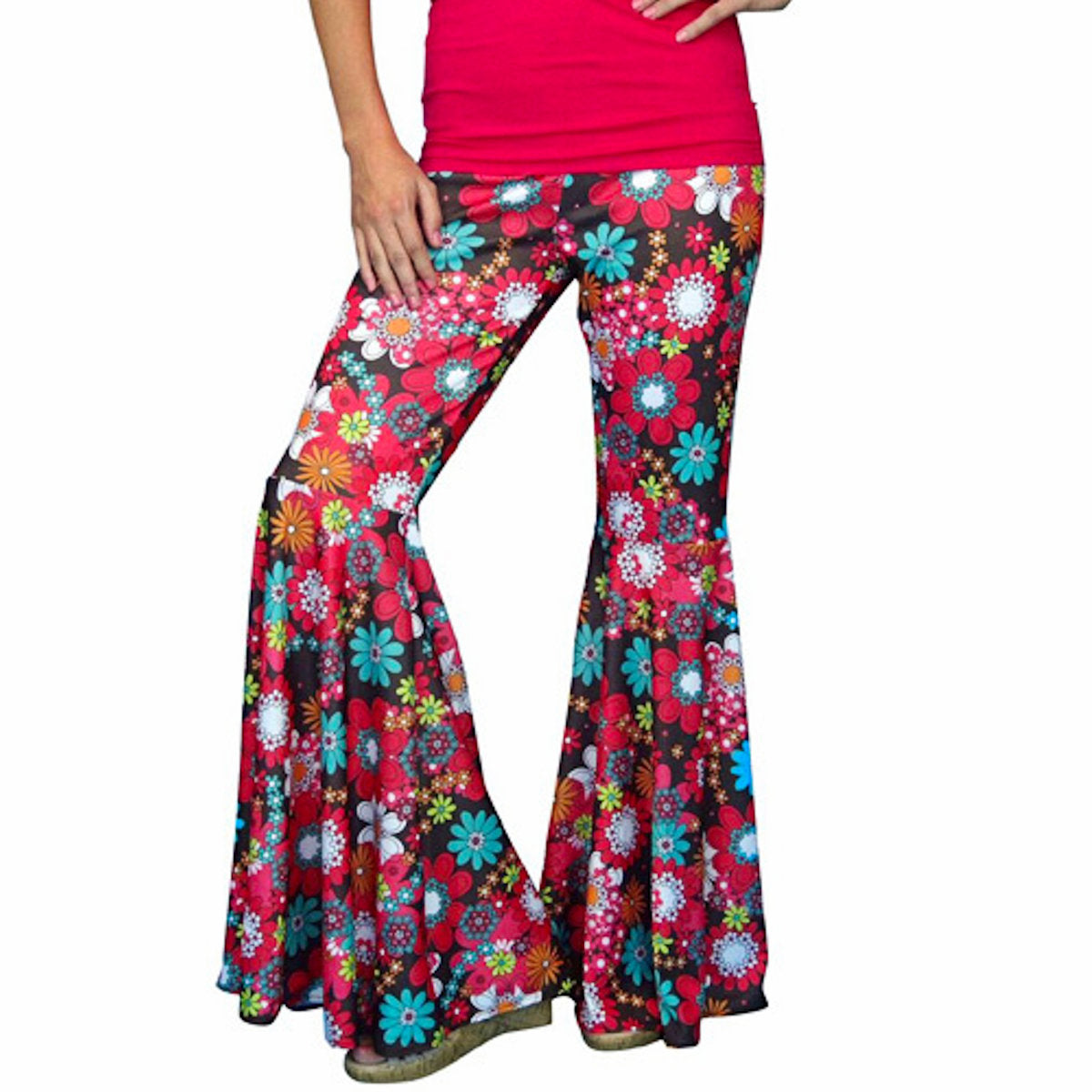 1970's Hippie Bell Bottoms Pants Women's Fancy Dress Hippy Flower Power Pants
