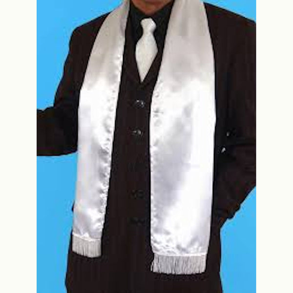 1920's Men's White Wide Gangster Scarf with Fringe Gatsby