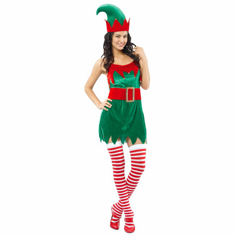 Santa's Helper ELF Velvet Women's Christmas Fancy Dress Costume with hat