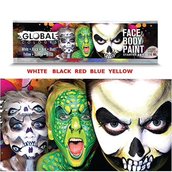 Face & Body Paint Starter Set Global Bodyart Makeup Special FX Set of 5x Paints