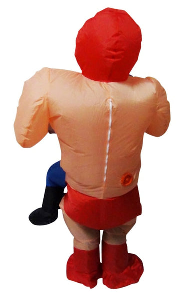 WRESTLER Fancy Dress Inflatable Suit -Fan Operated Adult Costume