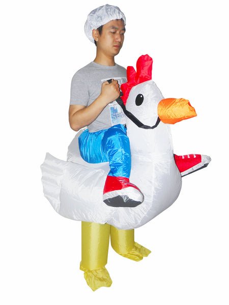 Chicken Cowboy Inflatable Fun Costume Adult Size
