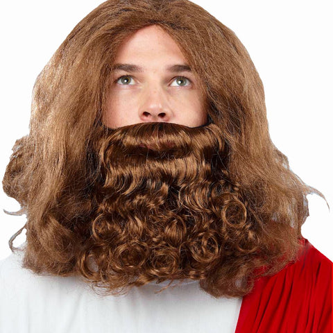 Biblical Jesus Moses Noah Wizard Medieval Fancy Dress Party Wig & Beard BROWN