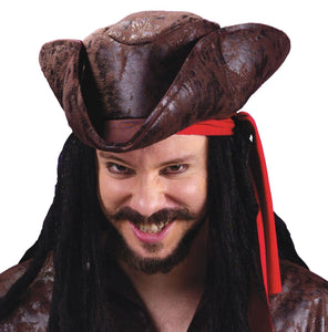 Pirate Tricorn Hat Weather Worn Brown Jack Sparrow Men's Costume accessory