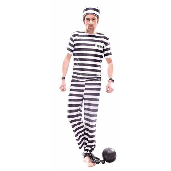 Prisoner Convict Jailbird Men's Fancy Dress Costume with free handcuffs
