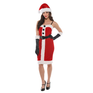 Jolly Holly Women's Christmas Santa Costume with Gloves