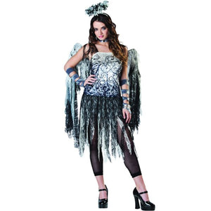 Fallen Dark Angel Halloween Women's Costume with Wings and Leggins