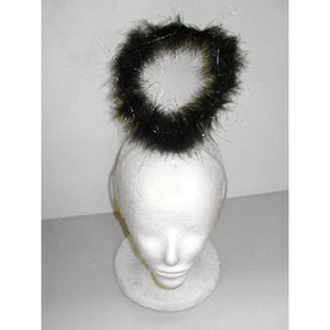 Large Black Angel Halo Marabou with Silver on headband Costume accessory