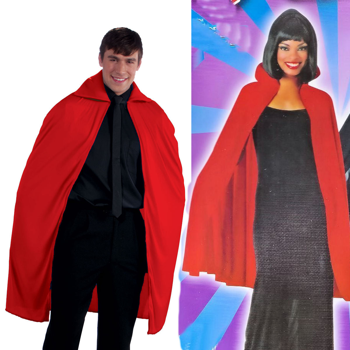 "Cape RED Vampire 45"" Long - Adult Fancy Dress Costume One size up to 42"" chest"