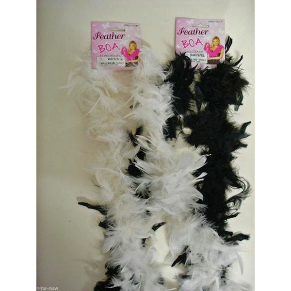 Feather Boa 2 Metre Long Flapper Gatsby Burlesque Black Red White 1920's
