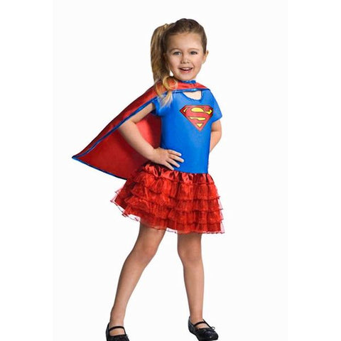 Supergirl children's costume with Tutu skirt Girls Fancy Dress Costume